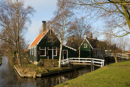 Traditional Dutch houses in the little village of Zaanse Schans, the Netherlands photo