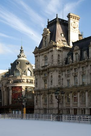 pitched roof: An ice rink outside the Hotel de Ville (City Hall), at Christmas time, Paris, France