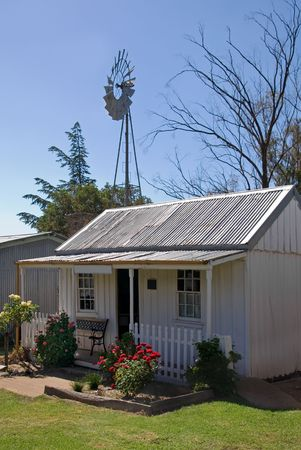 fine wood: An old, small cottage in rural New South Wales, Australia Stock Photo