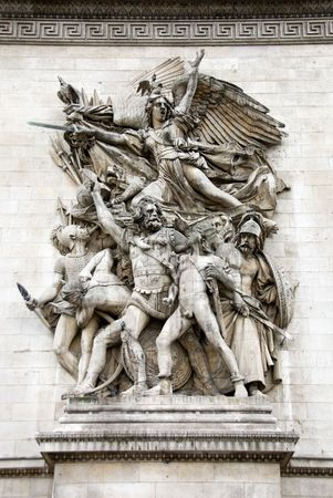 A sculpture against the outside wall of the Arc de Triomphe, Paris, France Stock Photo