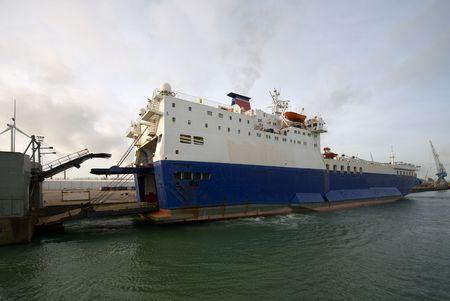 A car carrier docked beside a wharf Stock Photo - 5224407