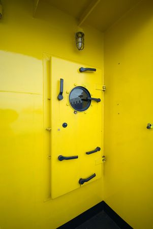 watertight: A water-tight door on a fire-fighting tug boat