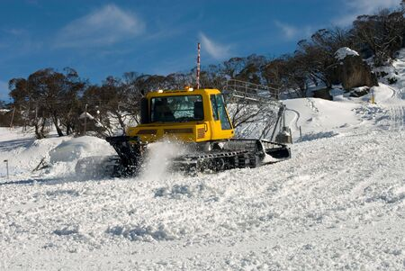 snow grooming machine: A snow grooming machine in operation, Perisher Valley, Australia