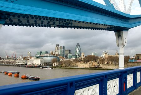 A view of London's CBD captured from Tower Bridge Stock Photo