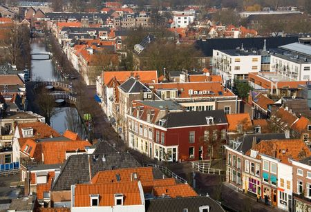 A view of the houses and streets of Delft, the Netherlands, captured from the church spire of the New Church (Nieuwe Kerk) Stock Photo - 5362175