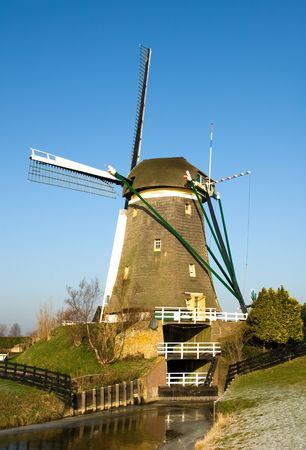 wind powered building: A traditional Dutch windmill at Leidschendam, the Netherlands