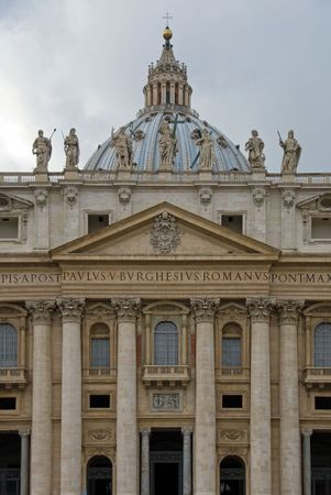 st  peter's basilica pope: The front facade of St Peters Bascilica, Rome, Italy