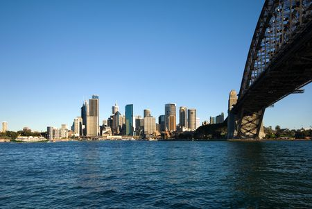 steel bridge: The huge steel structure of the Harbour Bridge, Sydney, Australia. Stock Photo
