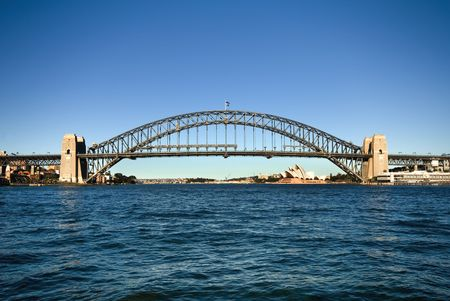 steel bridge: The huge steel structure of the Harbour Bridge, with the Opera House in the background, Sydney, Australia.