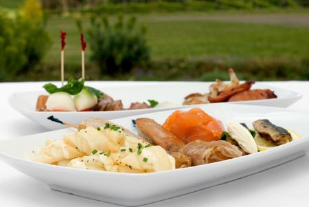 entree: Entree tasting plates containing an assortment of seafood and meats Stock Photo