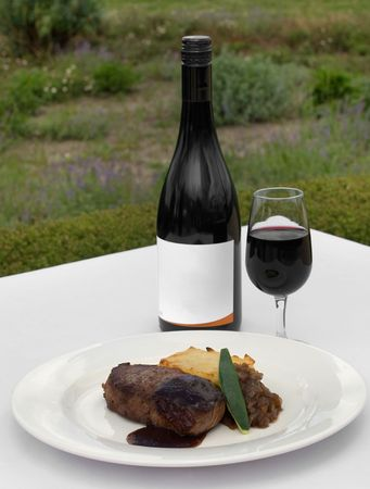 jus: Pasture-fed Sirloin, served on a Potato Galette, topped with Onion Jam and Shiraz Jus, accommpanied by a glass of Cabernet Sauvignon
