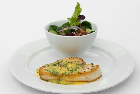 chive: Grilled Swordfish, with Lemon and Chive Beurre Blanc Sauced, served with a Mixed Leaf Spring Salad