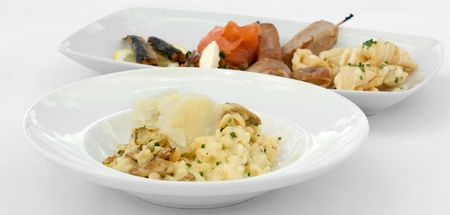 entree: Mushroom Risotto and an Entree Tasting Plate