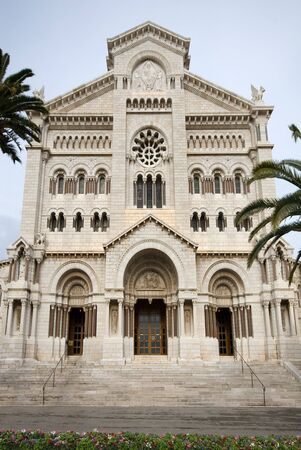 Cathedral of Monaco built between 1875 and 1884 in the Romanesque-Byzantine style.  photo