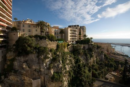 Apartment buildings, built on top of a steep cliff, in Monte Carlo, Monaco photo