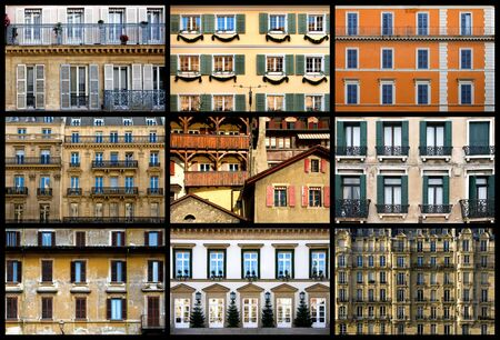 A collection of images featuring the facades of apartment and public buildings from different countries in Europe Stock Photo - 6925798