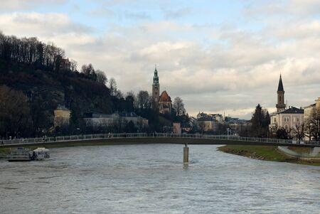 brige: The swollen Salzach River, Salzburg, Austria