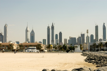 Modern skyscrapers, captured from Jumeirah Beach, Dubai, United Arab Emirates photo