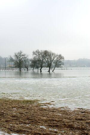 fenceline: Frozen floodwaters near Macon, France