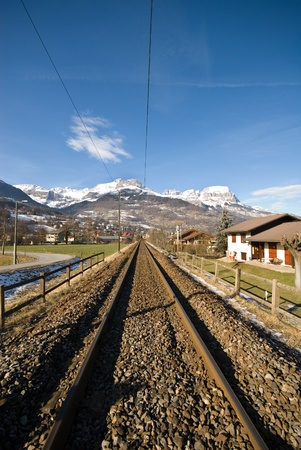 An alpine town between Geneva, Switzerland, and Chamonix, France photo