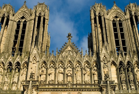 reims: The imposing structure of Reims Cathedral, France