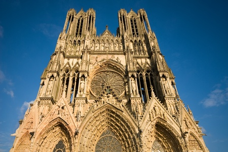 imposing: The imposing structure of Reims Cathedral, France