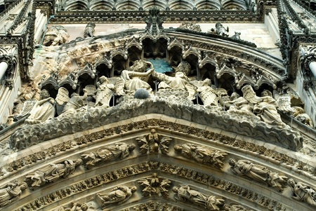 reims: Ornate Decorations, Reims Cathedral, France Stock Photo