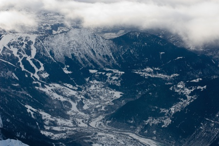 valley below: A view of the valley below, captured from the top of Aiguille du Midi, France Stock Photo