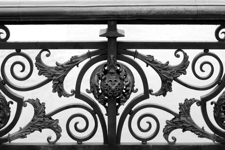 iron fence: Bridge Railing Design, Paris, France Stock Photo