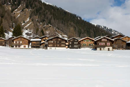 Alpine chalets in a small Swiss village Stock Photo - 8901964
