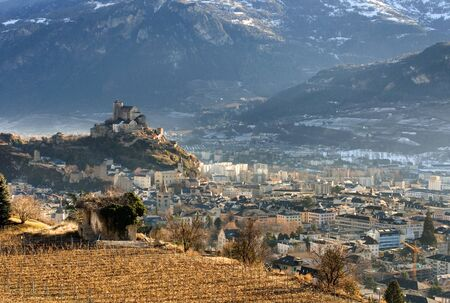 valais: Sion, the capital of the Swiss canton of Valais