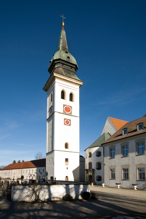 The free-standing tower of Rottenbuch Church, Bavaria, Germany photo