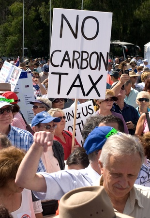 canberra: Protesters at the No Carbon Tax Rally, 23 March, 2011, Canberra, Australia Editorial