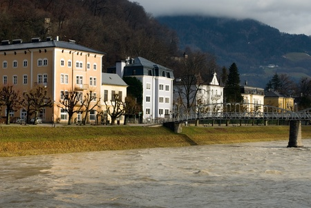 Large luxury homes beside the Salzach River, Salzburg, Austria Stock Photo - 9165052