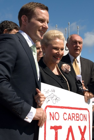 parliamentarian: Politicians on stage at the No Carbon Tax rally - Canberra, Australia - 23 March, 2011