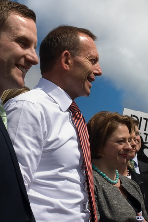 Politicians on stage at the No Carbon Tax rally - Canberra, Australia - 23 March, 2011