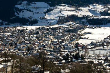snowcovered: A snow-covered town in the Austrian Alps