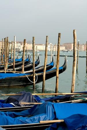 window coverings: A row of gondolas near St Marks Square, Venice, Italy