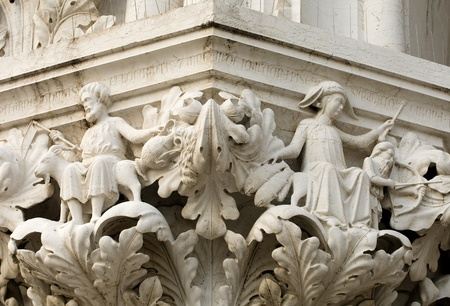 doges  palace: Stone motifs, Doges Palace, St Marks Square, Venice, Italy