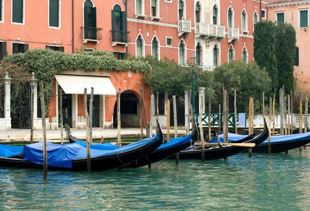 A row of gondolas on the Grand Canal, Venice, Italy Stock Photo - 9211516
