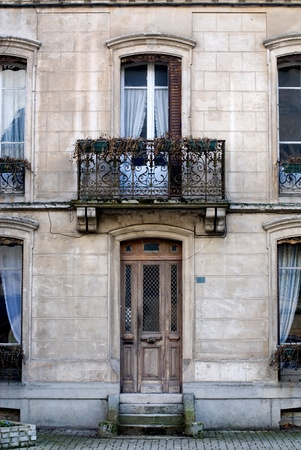 balcony window: The facade of an old house, France