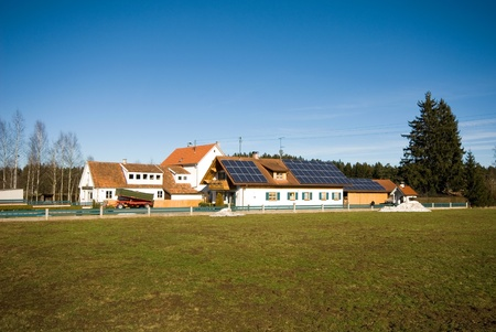 Farmhouses, complete with solar panels, Germany photo