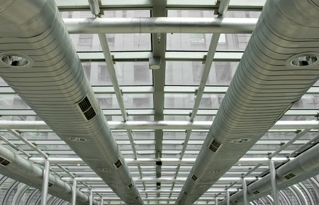 Ventilation: Air-conditioning ducts in a modern building, Melbourne, Australia