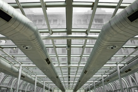 duct: Conductos de aire acondicionado en un edificio moderno, Melbourne, Australia Foto de archivo