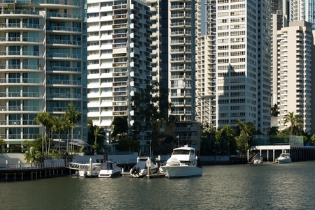 Apartment buildings beside a waterway, Surfers Paradise, Queensland, Australia Stock Photo - 11025658