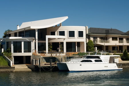 surfers: Luxury homes on a waterway, Surfers Paradise, Queensland, Australia