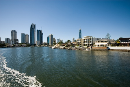 A waterway scene, with luxury homes and apartment buildings, Surfers Paradise, Queensland, Australia Stock Photo - 11016001