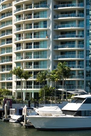 tall glass: Apartment buildings beside a waterway, Surfers Paradise, Queensland, Australia