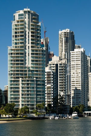 Apartment buildings beside a waterway, Surfers Paradise, Queensland, Australia photo