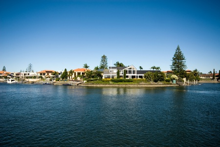 Luxury homes on a waterway, Surfers Paradise, Queensland, Australia Stock Photo - 11021799